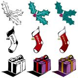 3 more holiday woodcuts Stock Photography