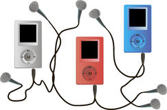 3 mp4 in vector. Three multi-colored modern mp4 player with headphones Royalty Free Stock Photography