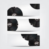 3 Music Banners with glow vinyl plates Stock Photography