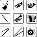 3 musikaliska instrument Royaltyfria Foton