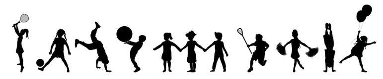 παιχνίδι 3 παιδιών εμβλημάτω&n Στοκ Φωτογραφία