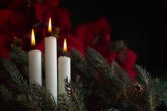 3 nastanie świece. obrazy royalty free