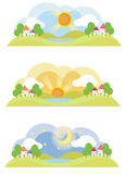 3 natural landscape on various time of the day Royalty Free Stock Photos