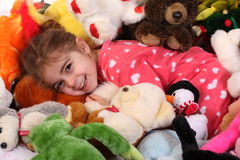 3 éénjarigen die met haar speelgoed spelen Royalty-vrije Stock Foto