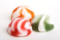 3 not chocolate sweets. Lay close by on white background Royalty Free Stock Photo