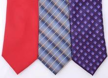 3 odizolowane kolorowego krawata Zdjęcie Royalty Free