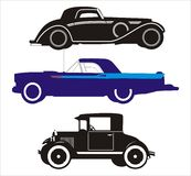 3 old cars. 3 vectorial old cars on a white background Stock Image