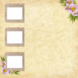 3 Old paper frame on grunge background. In scrapbooking style Royalty Free Stock Photography