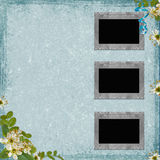 3 Old paper frame on grunge background. In scrap-booking style Royalty Free Stock Photos