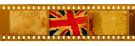 3 oldies 35mm frame with old UK flag Royalty Free Stock Image