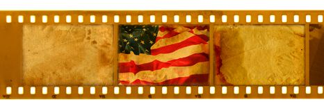 3 oldies 35mm frame with old USA flag. 3 old 35mm frame with old USA flag Royalty Free Stock Photos