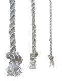 3 otton ropes with knots. Isolated on a white background Royalty Free Stock Images