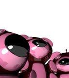 3 ours r3fléchissants roses drôles de plastique Photographie stock libre de droits