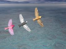 3 pássaros na formação ilustração stock