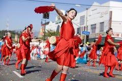 3 pań parady chińskich fanem nowego roku Zdjęcie Royalty Free