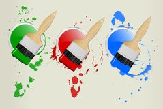 3 paint cans and brushes. Illustration, red,green,blue Royalty Free Stock Photos