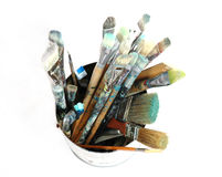 3 paintbrushes Royaltyfri Bild