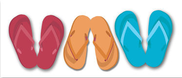 3 pairs of flip flops. Red, and orange and turquoise pairs of graphic flip flops in a line Stock Photo