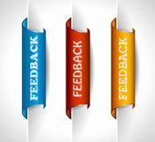 3 paper stickers tag for feedback button. With high contrast colours, real paper effect and transparent shadows Stock Images