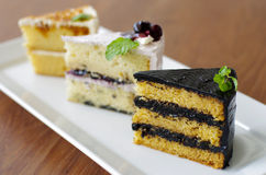 3 parti della torta dolce Fotografia Stock