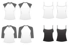 3 passade kvinnor för mallar för s-serieskjorta t stock illustrationer
