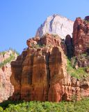 3 Patriarchs in Zion National Park. Early Mormon settlers saw the 3 pillars as representing the Old TEstament Patriarchs royalty free stock photography