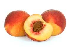 3 peach isolated. Peach isolated over white background Royalty Free Stock Photography
