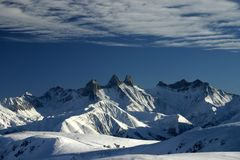 3 peaks in French Alps Stock Images