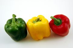 Free 3 Peppers, Green, Yellow And Red Peppers On A White Background. Royalty Free Stock Photography - 3819087
