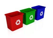 3 pequenos recicl escaninhos Foto de Stock