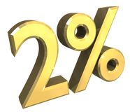 3 percent in gold (3D) stock illustration