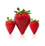 3 perfecte Aardbeien Royalty-vrije Stock Foto