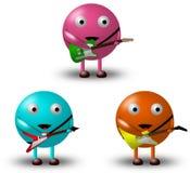 3 personagens de banda desenhada com guitarra -2/2 Imagens de Stock Royalty Free