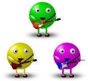 3 personnages de dessin animé avec des guitares -1/2 Photographie stock libre de droits