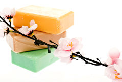 3 pieces of soap and a flower Royalty Free Stock Photo