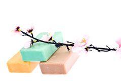 3 pieces of soap and a flower Royalty Free Stock Photography