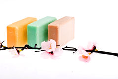 3 pieces of soap and a flower Stock Image