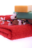 3 pieces of soap and a flower Royalty Free Stock Photos