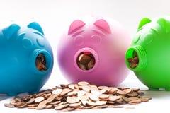 3 piggys Stock Foto's