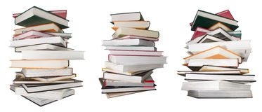 3 piles of new books isolated greater Stock Image