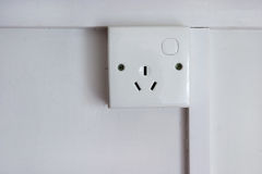 3 pin plug socket. A 3 pin plug socket Stock Photo