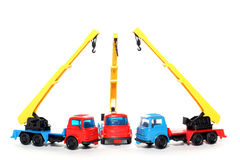 3 Plastic Bedford Crane Trucks Royalty Free Stock Images