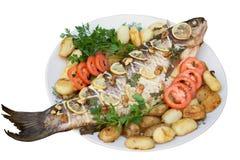 3 poissons ont grillé des séries de recette Image libre de droits