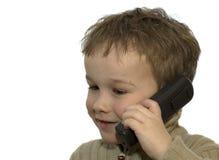 3 pojketelefonbarn Fotografering för Bildbyråer