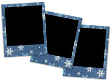 3 polaroids with snowflakes. On white background Royalty Free Stock Images