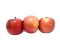 3 pommes horizontales Images libres de droits