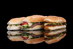 3 populaire sandwiches Royalty-vrije Stock Foto's
