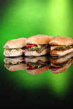 3 populaire sandwiches op groen Royalty-vrije Stock Afbeeldingen