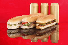 3 populaire sandwiches op rood Stock Foto