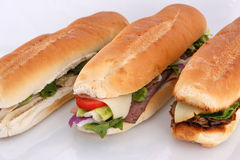 3 popular sandwiches Royalty Free Stock Photography